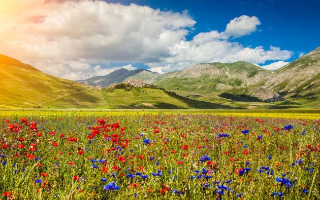 Beautiful summer landscape at Piano Grande (Great Plain) mountain plateau in the Apennine Mountains,...