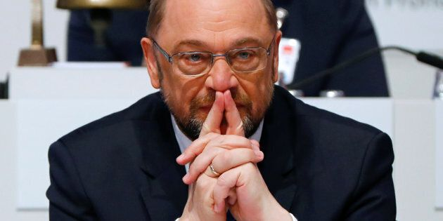 Social Democratic Party (SPD) leader Martin Schulz looks on at an SPD party convention in Berlin, Germany,...