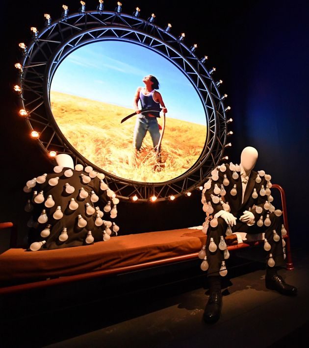 An installation part during a preview of The Pink Floyd Exhibition: Their Mortal Remains at the Museum...