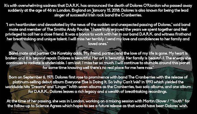 Morte di Dolores O'Riordan, lo sfogo del fidanzato Olé Koretsky: