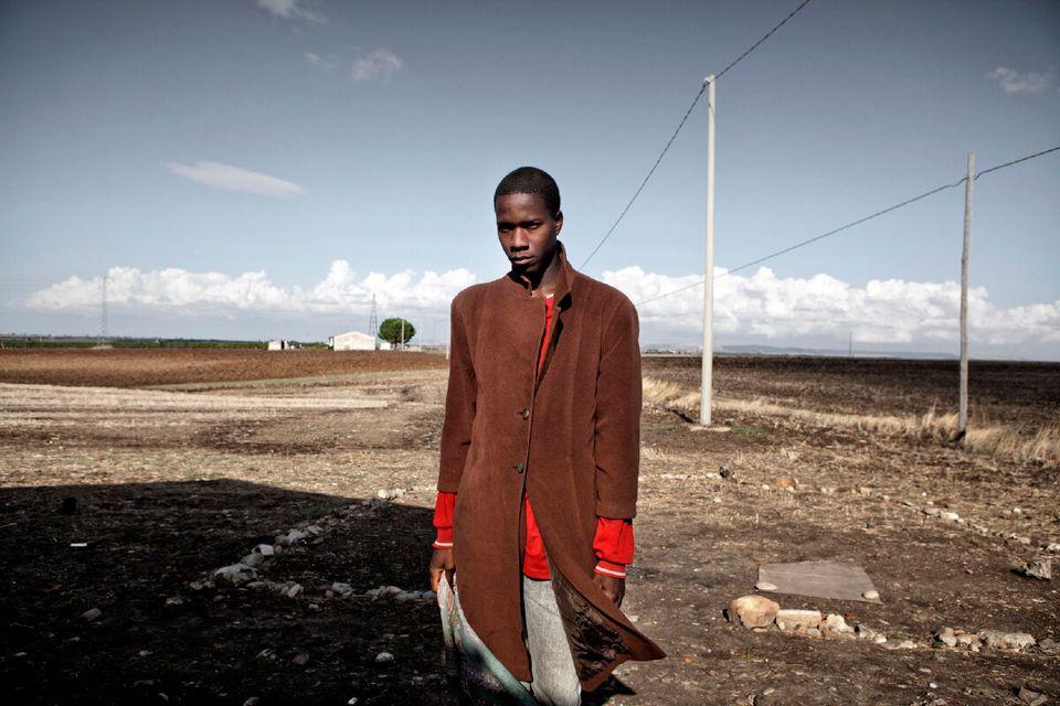 2011. Palazzo San Gervasio, Basilicata, Italy. Portrait of seasonal worker Yousuf Bande from Burkina...