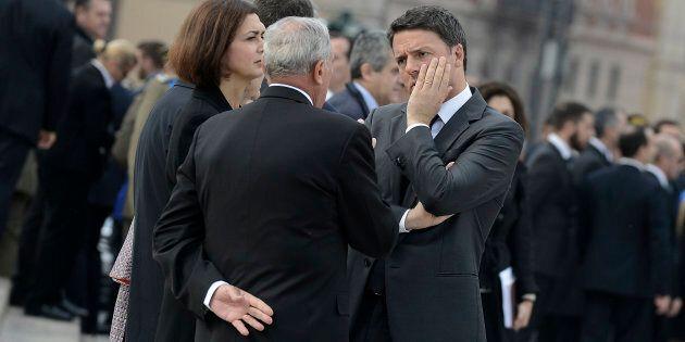 ROME, ITALY - NOVEMBER 04: ROME, ITALY - NOVEMBER 04: Matteo Renzi, Pietro Grasso and Laura Boldrini...