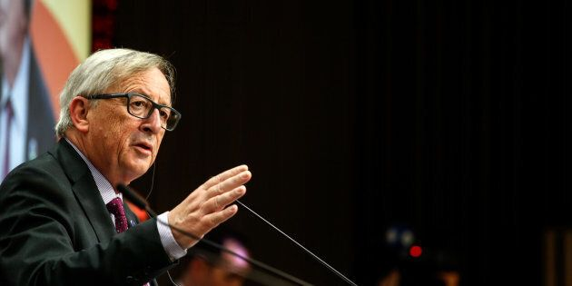 Jean-Claude Juncker, president of the European Commission, speaks during a news conference following...