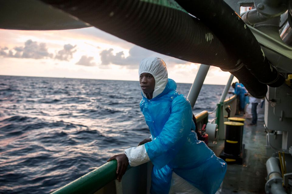 Lampedusa, Italy, November 20, 2015. A migrant aboard the Msf ship the Bourbon Argos, looks toward the...