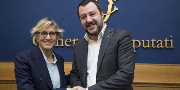 L'avvocato Giulia Buongiorno e il segretario della Lega, Matteo Salvini, durante una conferenza presso...