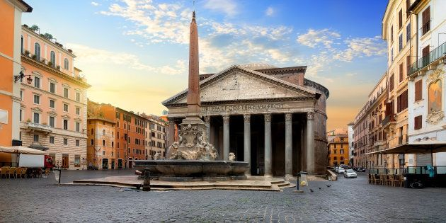 Pantheon and fountain in Rome at sunrise,