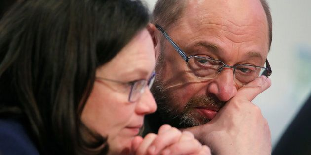 Germany's Social Democratic Party (SPD) leader Martin Schulz and SPD parliamentary group leader Andrea...