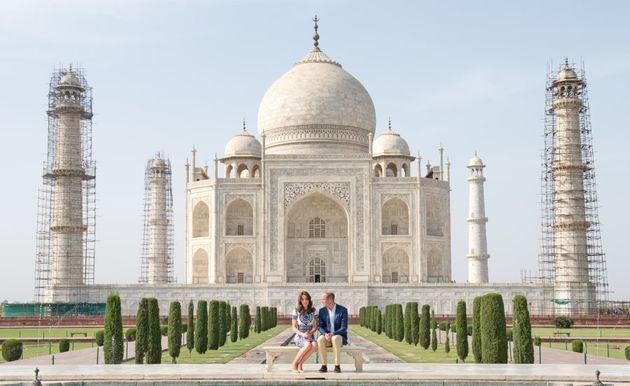 AGRA, INDIA - APRIL 16: Prince William, Duke of Cambridge and Catherine, Duchess of Cambridge visit the...