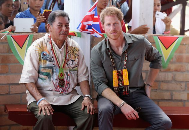 SURAMA, GUYANA - DECEMBER 03: Prince Harry visits Surama Village in the Guyana Hinterland on day 13 of...