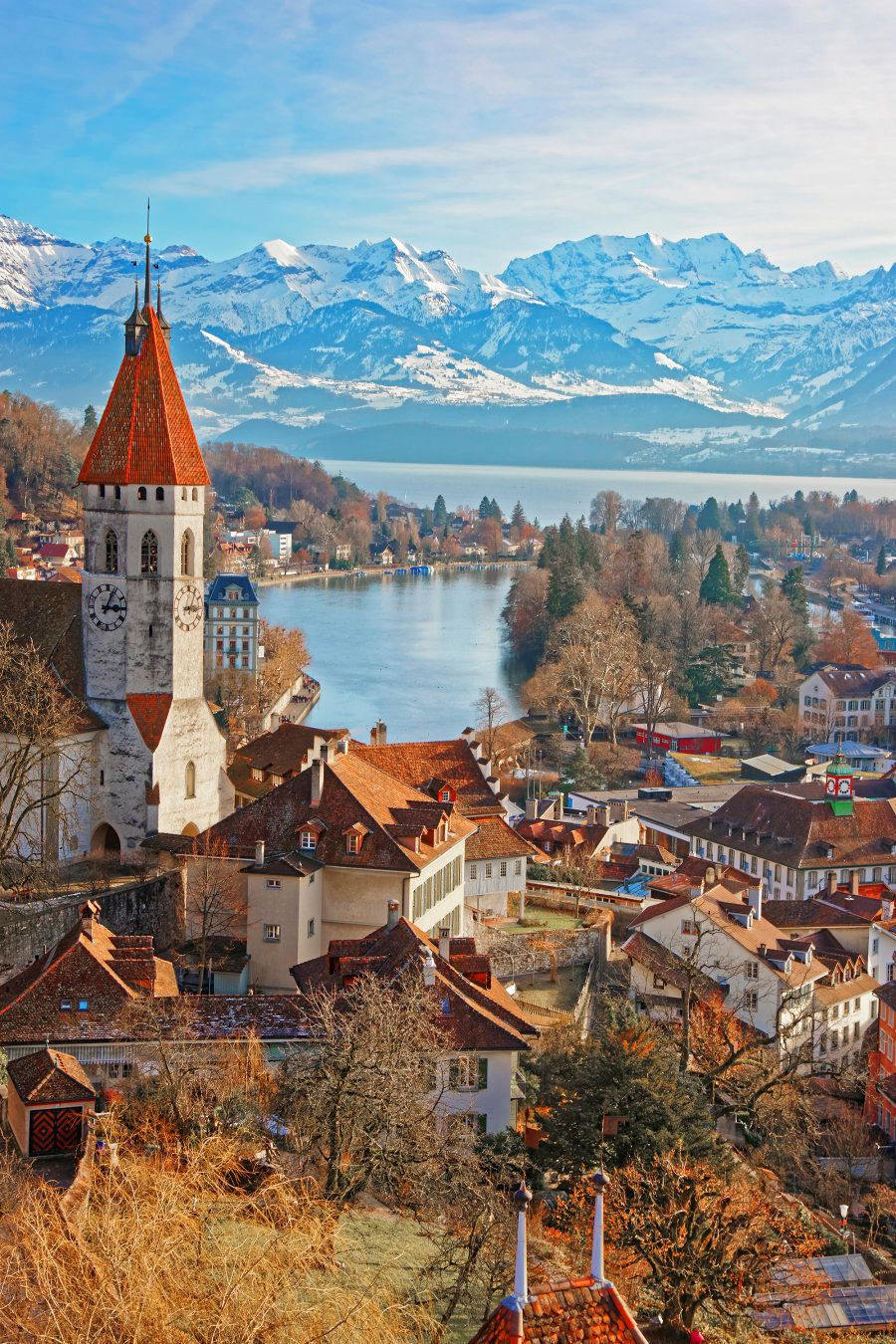 Panorama of City Church and City of Thun with Alps and Thunersee. Thun is a city in the canton of Bern...