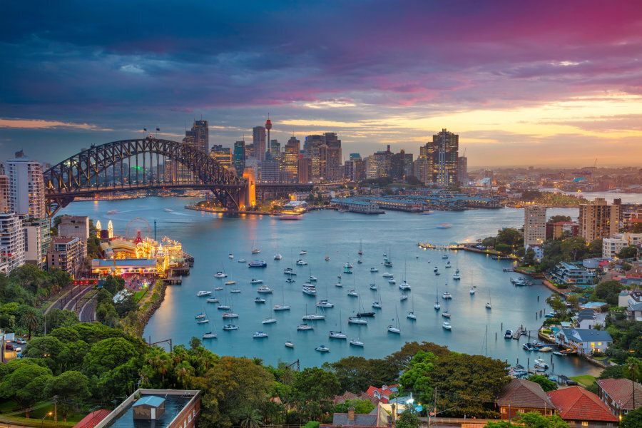 Cityscape image of Sydney, Australia with Harbour Bridge and Sydney skyline during