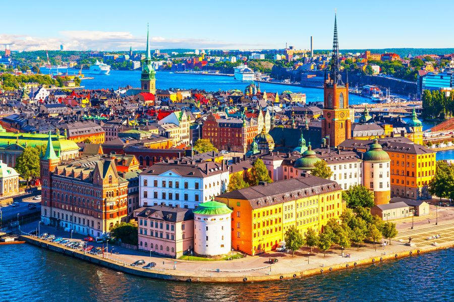 Scenic summer aerial panorama of the Old Town (Gamla Stan) pier architecture in Stockholm,