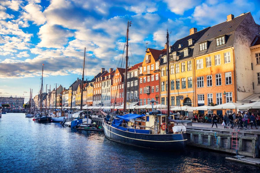 Colorful Traditional Houses in Copenhagen old Town at Sunset, Nyhavn, Copenhagen,