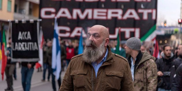 Gianluca Iannone, presidente di Casapound durante una marcia di commemorazione del 40esimo anniversario...