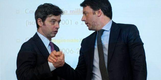 Roma 27/03/2015, conferenza stampa a margine del Consiglio dei Ministri. Nella foto Matteo Renzi, Andrea...