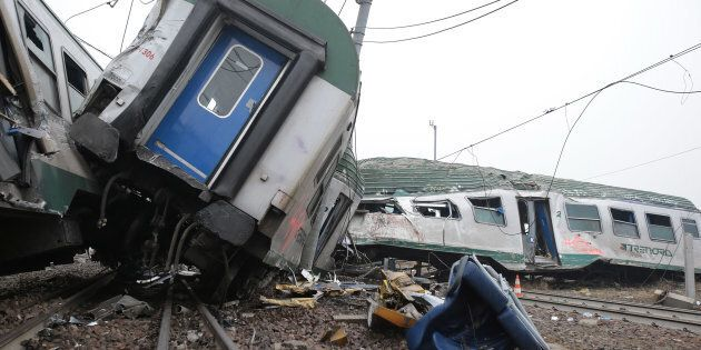 MILAN, ITALY - JANUARY 25: A general view of a destroyed commuter train that derailed close to Pioltello...