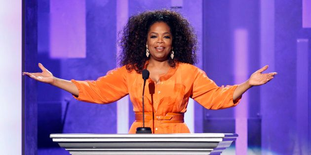 Oprah Winfrey speaks on stage during a tribute to Nelson Mandela at the 45th NAACP Image Awards in Pasadena,...