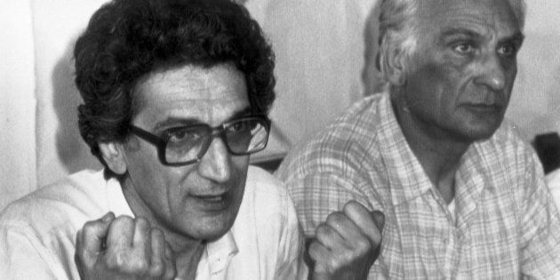Toni Negri with Marco Pannella during a press conference in Rome, Italy, 9 July 1983.