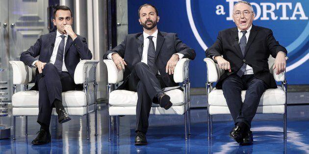 Luigi Di Maio, Lorenzo Fioramonti ed Emilio Carelli durante la trasmissione televisiva Porta a Porta...