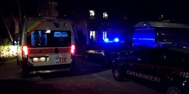 Le forze dell'ordine e i mezzi di soccorso all'esterno di una sede scout in provincia di Ancona dove...