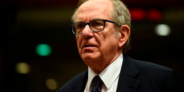 Italian Minister of Economy and Finance Pier Carlo Padoan looks on before an Economic and Financial Affairs...