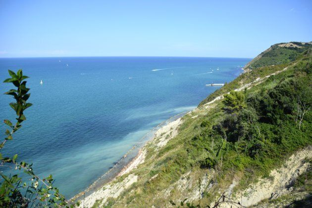 Seascape view of Adriatic sea and Gabicce mare from Gabicce monte, a town in the Province of Pesaro e...