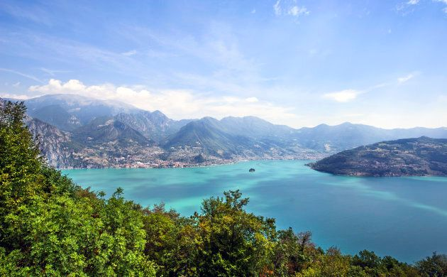 Aerial view of Lake Iseo in Lombardy,
