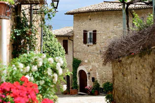 Image of a public street in Montefalco, Italy,