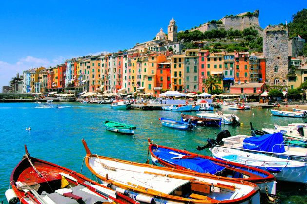Colorful harbor view at Portovenere, Italy with