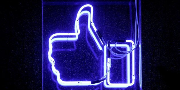 A Facebook like button is pictured at the Facebook's France headquarters in Paris, France, November 27,...