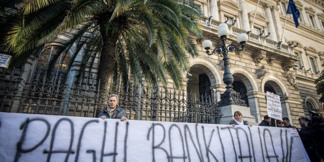 ROME, ITALY - 2015/12/22: The 'victims of saving banks' take to the streets against the government, about...