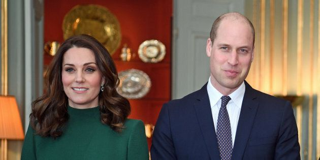 Britain's Prince William and Catherine, the Duchess of Cambridge arrive to meet Sweden's royal family...