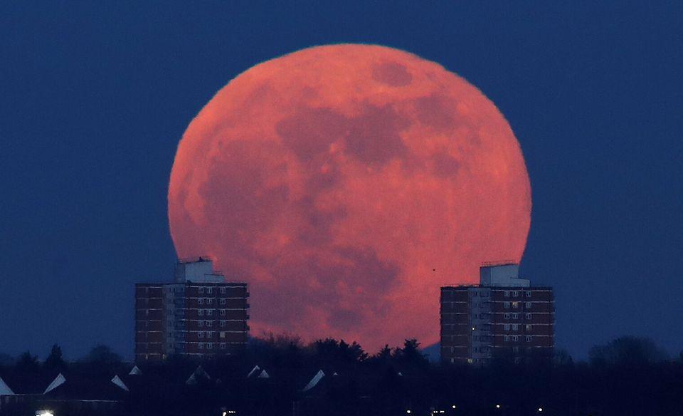 Superluna dietro ai palazzi nel nord di Londra, in Gran
