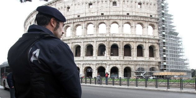 ROME, ITALY - NOVEMBER 23: Italian Policeman outside the Colosseum for security checks two weeks before...