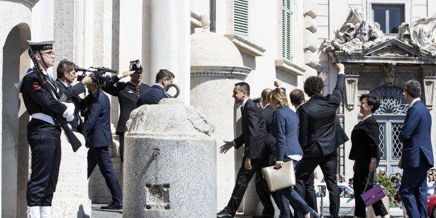 Il Ministro dello Sviluppo Economico e Lavoro Luigi Di Maio, con il suo gruppo di neo ministri entrano...