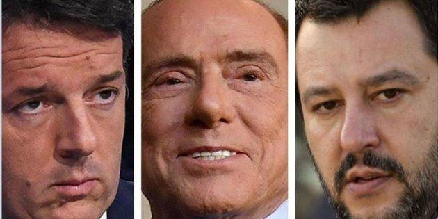 Matteo Renzi, Silvio Berlusconi e Matteo Salvini sono d'accordo: senza i numeri si ritorna al