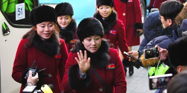 North Korean cheerleaders arrive at the Inje Speedium, a racetrack and hotel complex, in Inje, north...