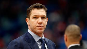 Los Angeles Lakers head coach Luke Walton during the first half of an NBA basketball game in New Orleans, Sunday, March 31, 2019. (AP Photo/Tyler Kaufman)