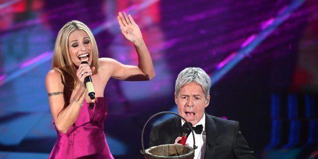 Italian singer and Sanremo Festival artistic director Claudio Baglioni (R) and Swiss-Italian TV showgirl...
