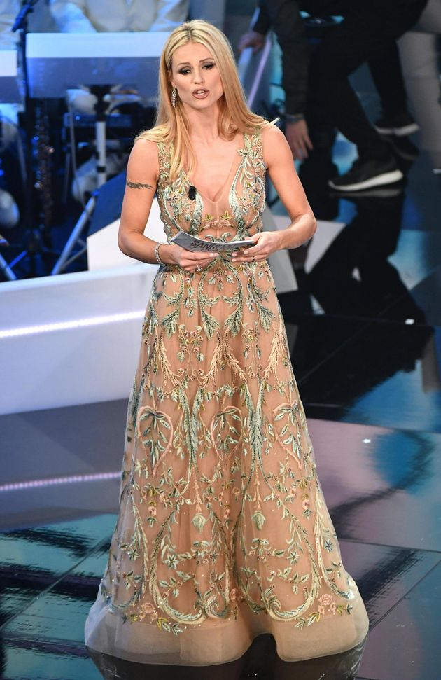 Swiss-Italian TV showgirl Michelle Hunziker on stage during the 68th Sanremo Italian Song Festival at...