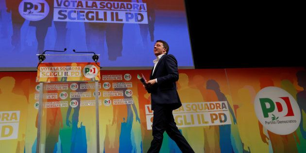 Italy's ruling centre-left Democratic Party (PD) leader Matteo Renzi arrives to talk during an electoral...