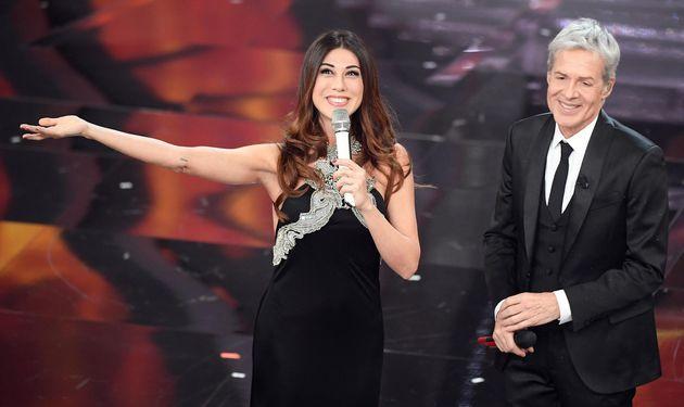 Sanremo Festival artistic director Claudio Baglioni (R) with Italian actress Virginia Raffaele (L) on...