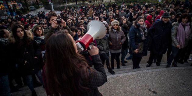 04/02/2018 Macerata, presidio di solidarieta' ai migranti residenti a Macerata dopo il raid razzista...