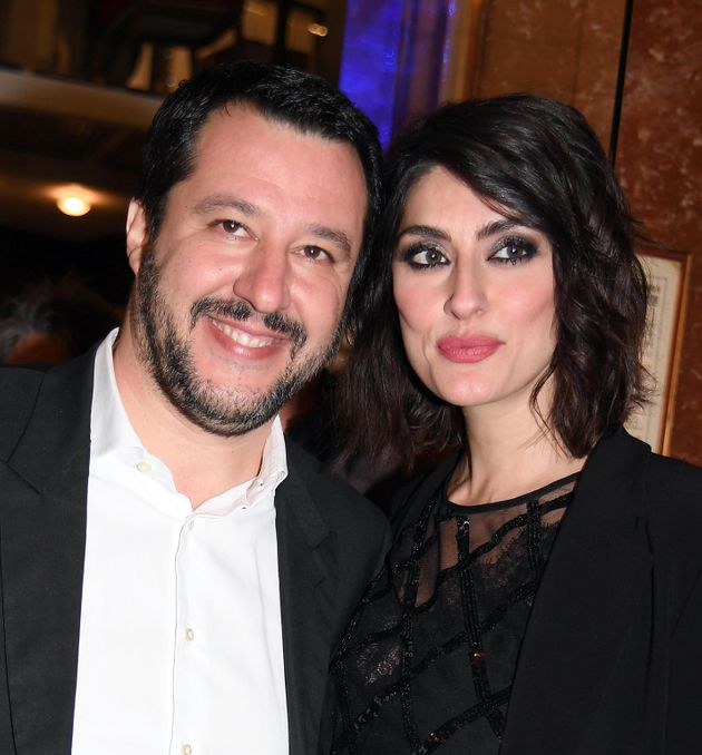 Northern League (Lega Nord) party leader Matteo Salvini and his partner Elisa Isoardi at the 68th Sanremo...