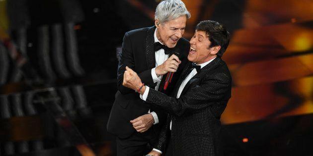 SANREMO, ITALY - FEBRUARY 06: Claudio Baglioni and Gianni Morandi attend the first night of the 68. Sanremo...