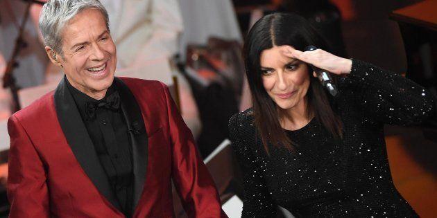 Italian singer and Sanremo Festival artistic director Claudio Baglioni (L) and Italian singer Laura Pausini...