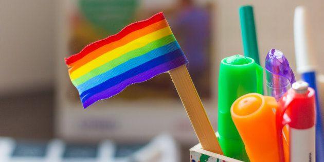 rainbow flag on a