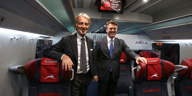 Luca Cordero di Montezemolo (L), chairman for the NTV (Nuovo Trasporto Viaggiatori), and CEO Flavio Cattaneo...