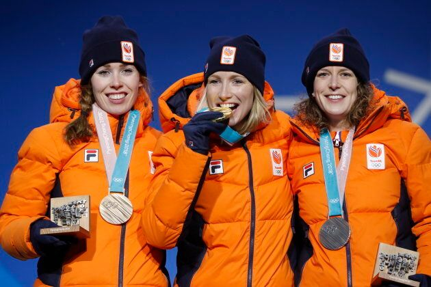 Medals Ceremony - Speed Skating - Pyeongchang 2018 Winter Olympics - Women's 3000 m - Medals Plaza -...