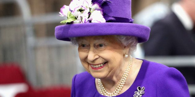 Britain's Queen Elizabeth attends the Commissioning Ceremony of the Royal Navy's aircraft carrier HMS...